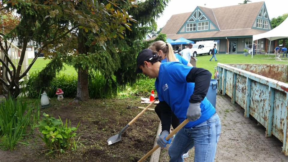 BCAA employees breaking ground at Alex House as part of The Vancouver Sun United Way Day of Caring event.